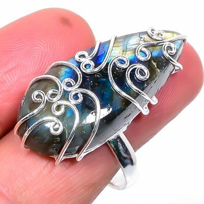 Amazing Labradorite Gemstone Handmade 925 Sterling Silver Jewelry Ring Size 10