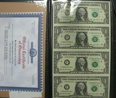 Uncut Sheet of (4) Series 2003-A 1 One Dollar Notes With Certificate Washington