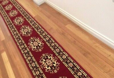 Hallway Runner Hall Runner Rug 450cm Long Red Black Brown FREE DELIVERY 53171