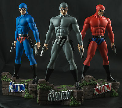 "THE PHANTOM: The Ghost Who Walks - 12"" Blue/Red/Grey Statue Set (3) by Ikon #NEW"