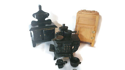 Vintage Queen Cast Iron Miniature Stove with Accessories Ice Chest vtg