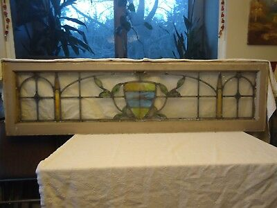 "Antique 17"" x 64"" Stained Glass Transom Window"