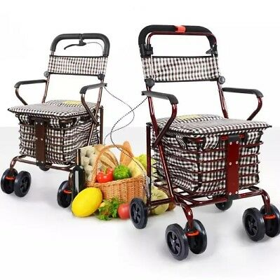 Claret Six Wheels Convenient Foldable Shopping Luggage Trolleys With Seat *!