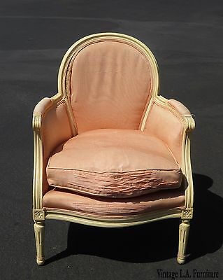 Vintage French Country Provincial Pink Down Cushion Carved Wood Accent Chair