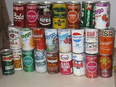 24 different steel soda cans from 1970's