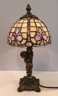 "Vintage Brass Cherub Angel 14"" Tall Lamp w/ Tiffany Style Stained Glass Shade"