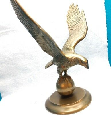 Vintage-Large-10.5''-Solid Brass Eagle-on Top of the World-Statue