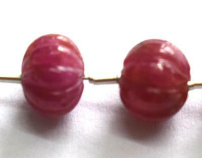 100% Natural Unheated Ruby Beads Carved Rondelle 9 Mm Gemstone 3 Pcs @s089