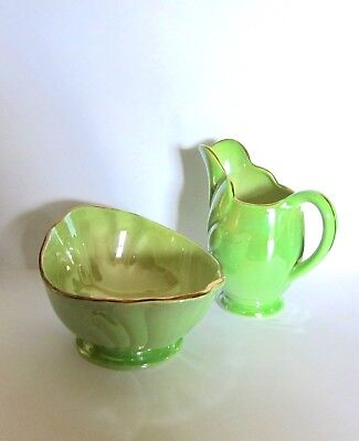 Vibrant Maling Green Lustre Art Deco Milk Jug & Sugar Bowl