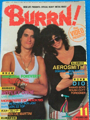 BURRN! 11/1985 Japan Music Magazine Aerosmith Dio Motley Crue Deep Purple AC/DC