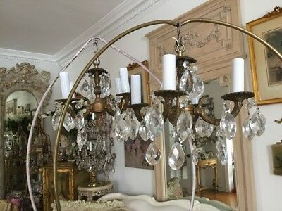 Pair Vtg Brass Petite Chandeliers Crystal Prisms FRENCH ITALIAN STYLE MATCHING