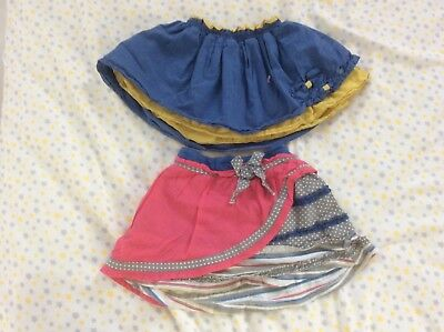 Beetlejuice London Girl's Pink and Yellow blue skirt 2piece Sz 4T