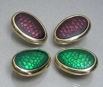 2 Pair of Vintage Kirk's Folly LARGE Clip-On Oval Earrings Purple & Green Gold T
