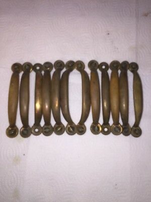 12 Vintage Brass Dresser Drawer or Cabinet Door Pulls HUTCH Handle