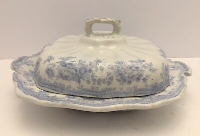 English Blue Transfer Ware Asiatic Pheasants Casserole Dish/Lid W/Harp Hallmark