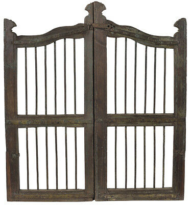 Stunning  Antique Old Wood Architectural Church Windows Frame Guard,39'' x 43''H