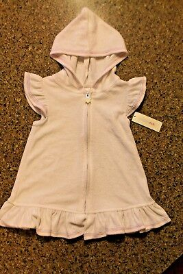 NWT Girls 3T Toddler White Terry Hooded Zip Front Swim Cover Coverup