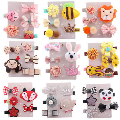 5Pcs Kids Cute Hairpin Baby Girl Hair Bows Cartoon Animal Motifs Hair Clip Set