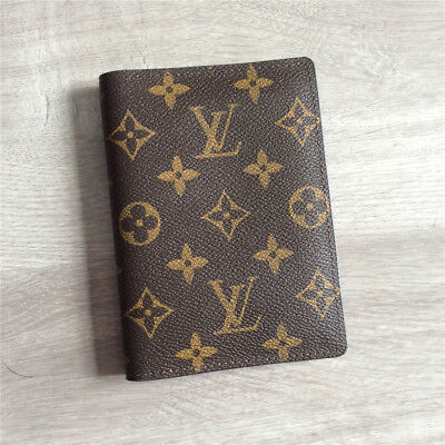 Men's Pre-owned Louis Vuitton Genuine Leather Canvas Logo Card Passport Brown