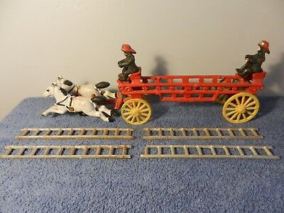 Antique Cast Iron Horse Drawn Fire/ Ladder Truck with 4 Ladders and 2 Firemen