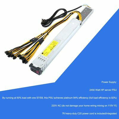 2450W 200-240V Mining Rig Mining Machine Mining Power Supply For Antminer DE