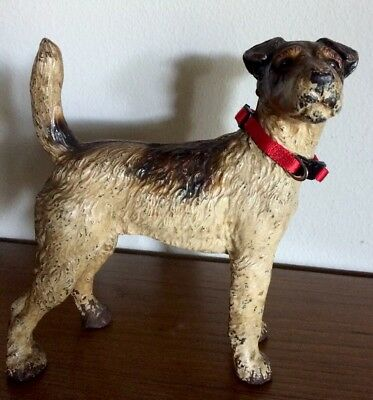 "Antique Hubley Fox Terrier Dog Cast Iron Doorstop 9"" X 9"""