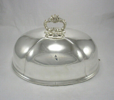 """Antique Victorian English 14 1/2"""" Silver Plate on Copper Dome Meat Food Cover"""