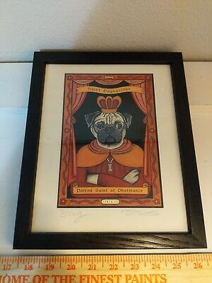 Vintage Pug wall art - SAINT PUGNACIOUS (Patron Saint of Obstinance) - Signed