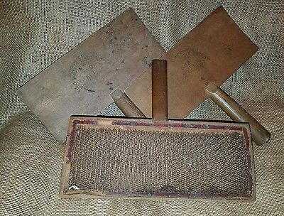 Vintage Old Whittemore No 9 Wool Carders Cotton Combs Wood Tool Primative Watson