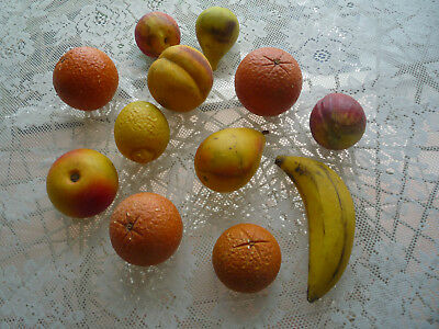 Authentic Antique Italian Stone Fruit Veined/ Hand Carved/ Painted  Lot Of 12