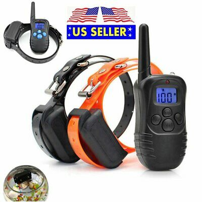 Waterproof 330 Yard 2 Dog Shock Training Collar LCD Electric With Remote 4 Modes