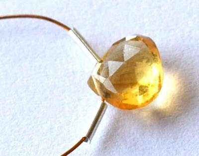 Citrine Bead Faceted Heart 8X9 Mm Natural Gemstone 2 Cts - 1 Pc  @1707