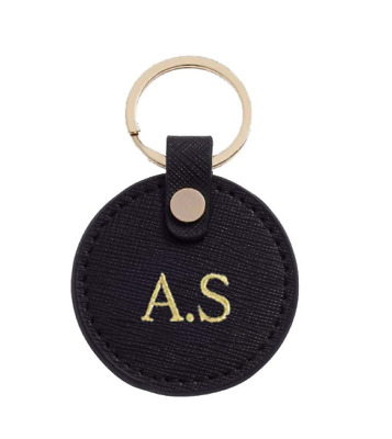 PERSONALISED MONOGRAMMED Round Keyring in Black Saffiano Leather Gift