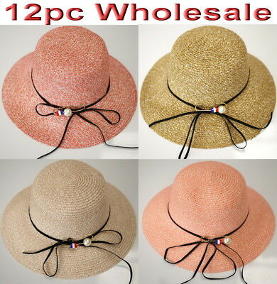 12pc Wholesale Women Lady Summer Beach Sun Hat Mixed