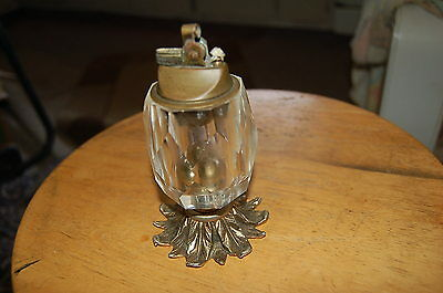 Antique ornate solid bronze brass heavy crystal cigarette table wick lighter 5.5