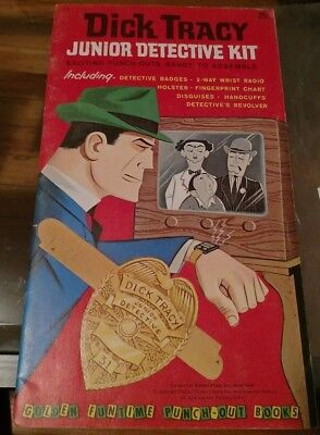 Dick Tracy Junior Detective Kit 1962 Vintage Golden Funtime Punch-Out Books Nice