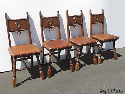 Four Unique Vintage Spanish Revival Style Oak Dining Chairs w Decorative Nails