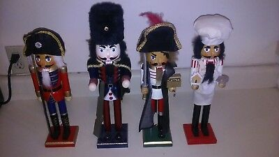 Lot Of 4 Decorative Wooden Nutcracker Soldiers -Christmas Decorations