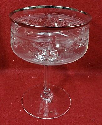 """LENOX crystal LACE POINT pattern Tall Sherbet Champagne Goblet - 5"""" slight trim"""
