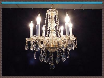 Genuine Gold Tone Full Leaded European Crystal Chandelier Superb Crystals WOW!