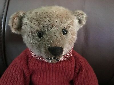 Rare antique brown Steiff bear ff button early sweater