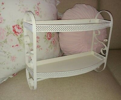 Vintage 2 Tiered Metal Bathroom Wall Shelf Scrolled Towel Bar Shabby Cream Retro