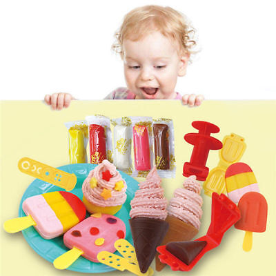 Play Dough Mold Set Ice Cream Lolly Mode Soft Clay Plasticine Kids Toy Gift DIY