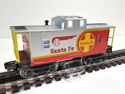 Menards ~ O Gauge Santa Fe warbonnet Lighted Caboose MTH LIONEL COMPATIBLE NICE!