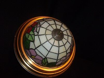 Vintage Tiffany Style Leaded Stained Glass Ceiling Light Fixture