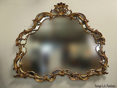 Large Vintage French Louis XVI ROCOCO Wood Gold Wall Mantle MIRROR Made in Italy