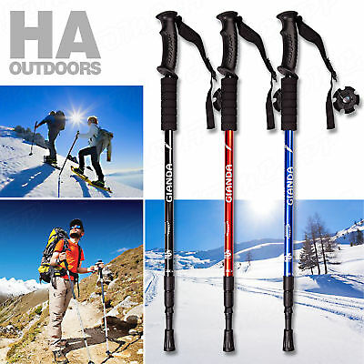 2x NEW Durable Shock Adjustable Camping Hiking Trekking Walking Pole Cane Stick