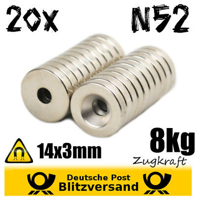 20x Neodymium Magnet D14x3 with Countersink 8kg N52 - Industrial Permanent