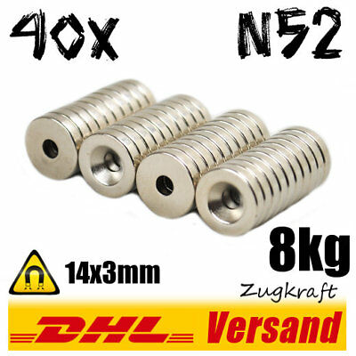 40x Neodymium Magnet Disc D14x3 with Countersink 8kg N52 - for Screwing On