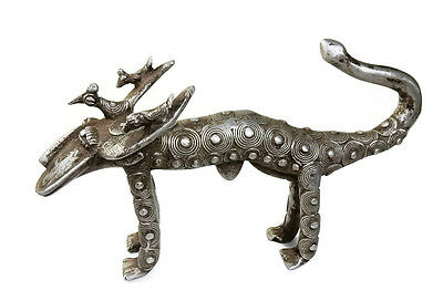Rare Antique African Tribal Cast Silver Burkina Faso - a Mystical Ornate Buffalo